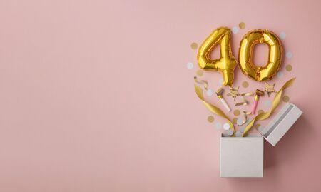 Number 40 birthday balloon celebration gift box lay flat explosion 스톡 콘텐츠
