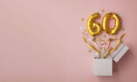 Number 60 birthday balloon celebration gift box lay flat explosion