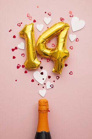 Valentines day february 14th champagne pop 版權商用圖片