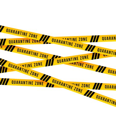Yellow cordon Quarantine zone warning barrier sign. 3D Render