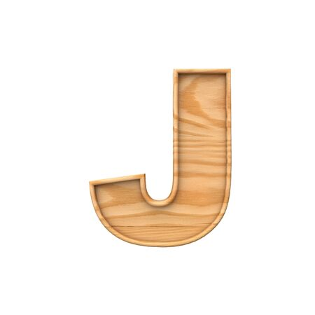 Wooden capital letter J. 3D Rendering