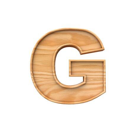 Wooden capital letter G. 3D Rendering