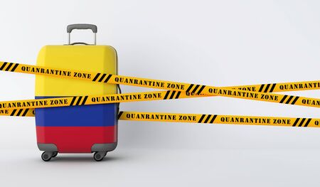 Colombia travel suitcase covered with quarantine tape. 3D Render