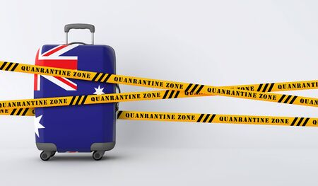 Australia travel suitcase covered with quarantine tape. 3D Render Stock Photo