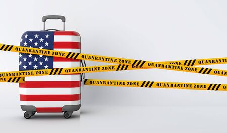 USA travel suitcase covered with quarantine tape. 3D Render