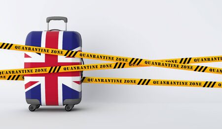 United Kingdom travel suitcase covered with quarantine tape. 3D Render Stock Photo