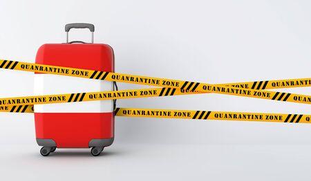 Austria travel suitcase covered with quarantine tape. 3D Render