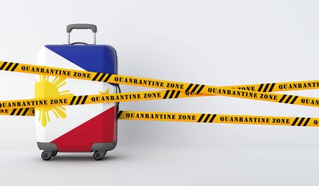 Philippines travel suitcase covered with quarantine tape. 3D Render