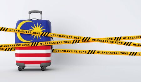 Malaysia travel suitcase covered with quarantine tape. 3D Render Stock Photo