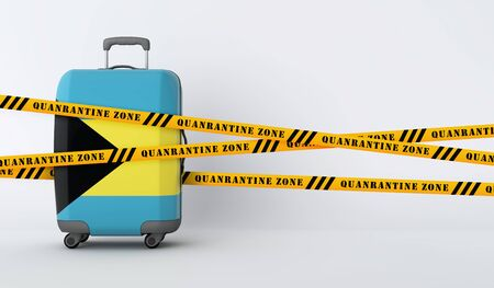 Bahamas travel suitcase covered with quarantine tape. 3D Render