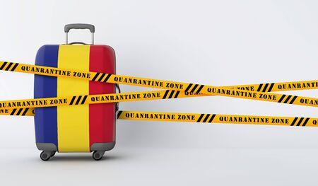 Romania travel suitcase covered with quarantine tape. 3D Render