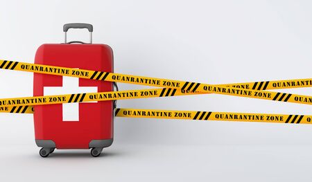 Switzerland travel suitcase covered with quarantine tape. 3D Render