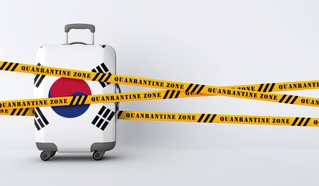 South Korea travel suitcase covered with quarantine tape. 3D Render