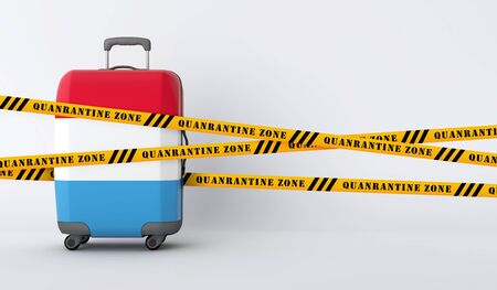 Luxembourg travel suitcase covered with quarantine tape. 3D Render