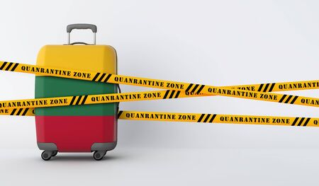 Lithuania travel suitcase covered with quarantine tape. 3D Render