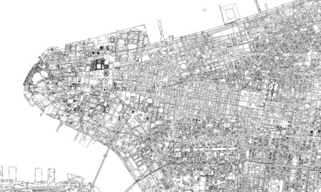 New York minimal blueprint style city map. 3D Rendering