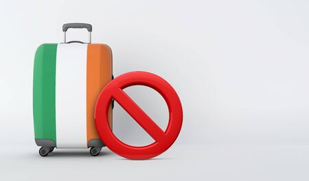 Ireland flag suitcase with no entry sign. Travel ban concept. 3D Render