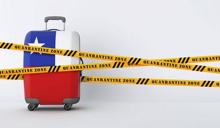 Chile travel suitcase covered with quarantine tape. 3D Render Stock Photo