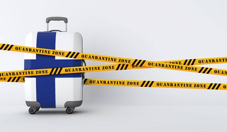 Finland travel suitcase covered with quarantine tape. 3D Render