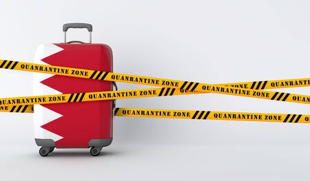 Bahrain travel suitcase covered with quarantine tape. 3D Render