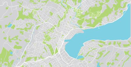 Urban vector city map of Dunedin, New Zealand