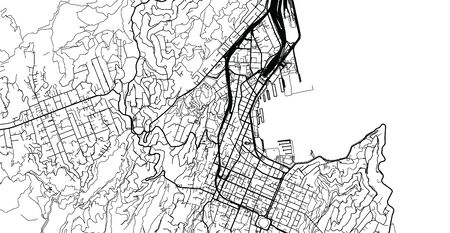 Urban vector city map of Wellington, New Zealand Vettoriali