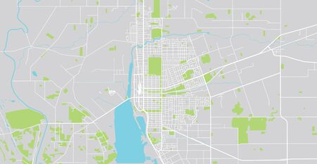 Urban vector city map of Invercargill, New Zealand