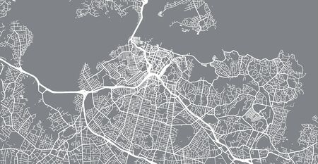 Urban vector city map of Auckland, New Zealand Vettoriali