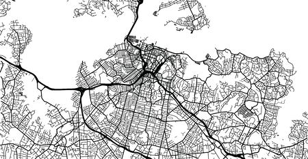 Urban vector city map of Auckland, New Zealand