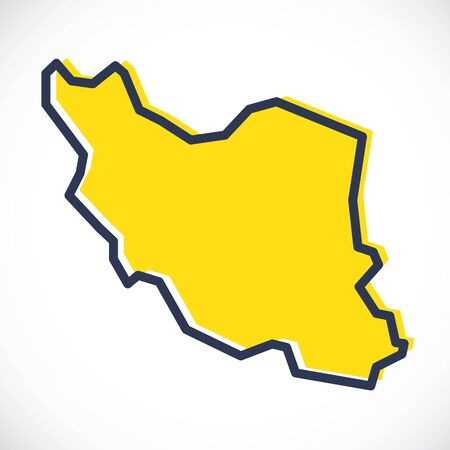 Stylized simple yellow outline map of Iran