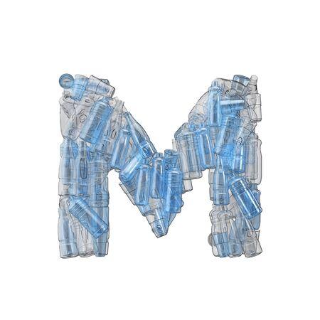 Letter M made from plastic bottles. Plastic recycling font. 3D Rendering Reklamní fotografie