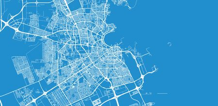 Urban vector city map of Doha, Qatar