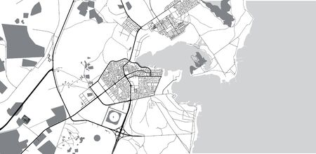 Urban vector city map of Al Khor, Qatar
