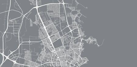 Urban vector city map of Umm Salal Muhammad, Qatar Vektoros illusztráció