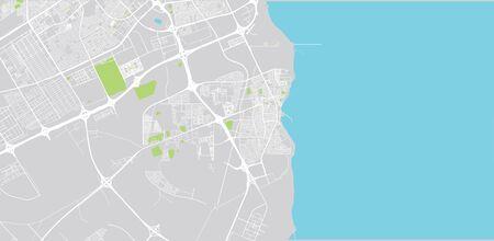 Urban vector city map of Al Wakrah, Qatar