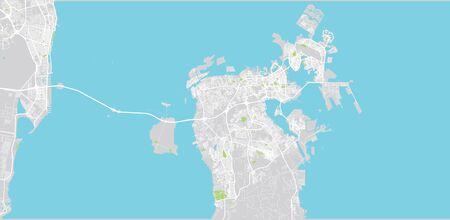 Urban vector map of Bahrain, middle east