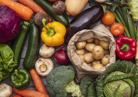 Layflat composition of fresh organic vegetables Stock Photo