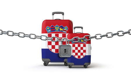 Croatia lockdown travel restrictions concept. 3D Render Stock Photo