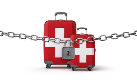 Switzerland lockdown travel restrictions concept. 3D Render