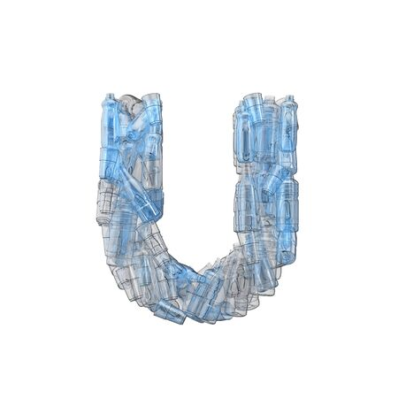 Letter U made from plastic bottles. Plastic recycling font. 3D Rendering