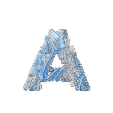 Letter A made from plastic bottles. Plastic recycling font. 3D Rendering Reklamní fotografie
