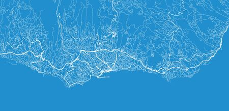 Urban vector city map of Funchal, Madeira, Portugal