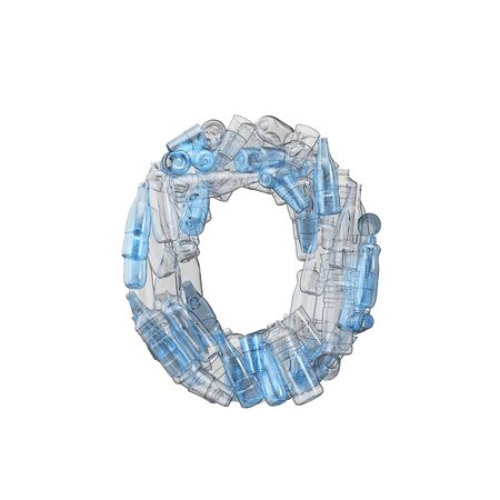 Number made from plastic bottles. Plastic recycling font. 3D Rendering