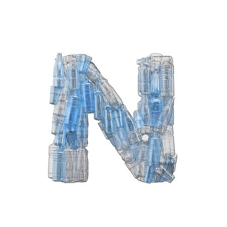 Letter N made from plastic bottles. Plastic recycling font. 3D Rendering