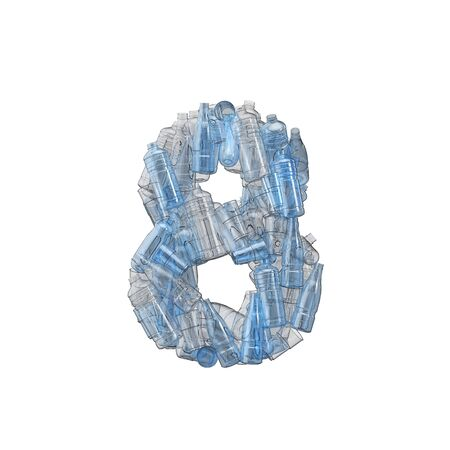 Number 8 made from plastic bottles. Plastic recycling font. 3D Rendering