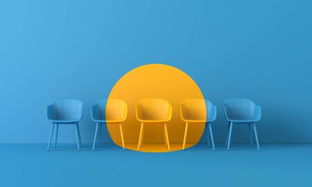 Yellow chair standing out from the crowd. Business concept. 3D rendering Banque d'images