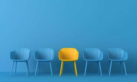 Yellow chair standing out from the crowd. Business concept. 3D rendering