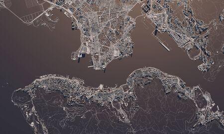 Hong Kong city map 3D Rendering. Aerial satellite view.