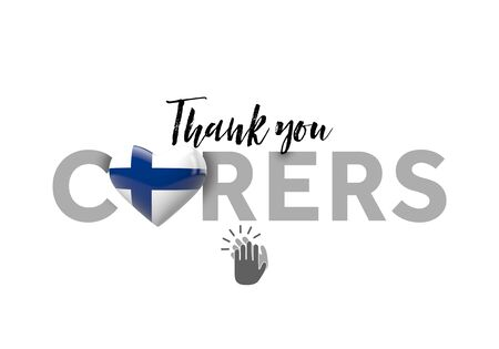 Thank you carers message with Finland heart flag. 3D Render