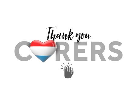 Thank you carers message with Luxembourg heart flag. 3D Render